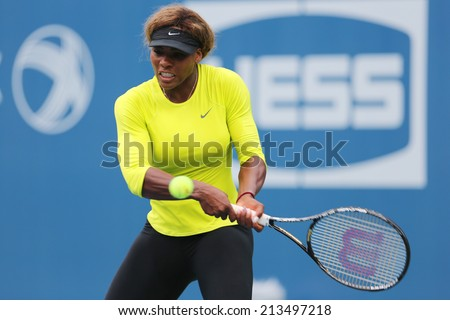 NEW YORK - AUGUST 23: Seventeen times Grand Slam champion Serena Williams practices for US Open 2014 at Billie Jean King National Tennis Center on August 23 , 2014 in New York