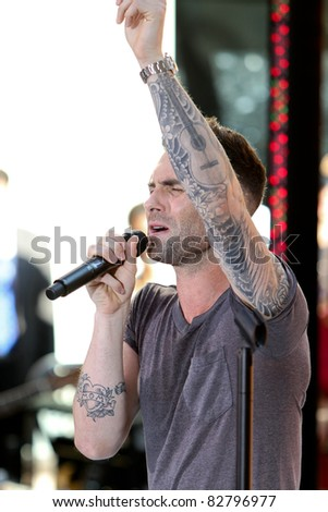 NEW YORK - AUGUST 5: Singer Adam Levine performs with Maroon 5 on the Toyota Today Show Concert Series at Rockefeller Plaza on August 5, 2011 in New York City, NY - stock photo