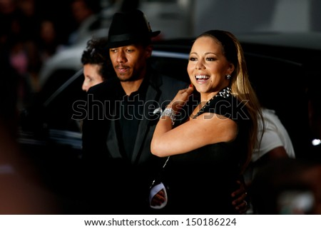 "NEW YORK-AUGUST 5: Singer Mariah Carey and husband Nick Cannon attend the premiere of Lee Daniels' ""The Butler"" at the Ziegfeld Theatre on August 5, 2013 in New York City."