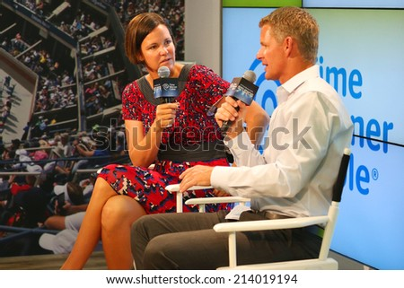 NEW YORK - AUGUST 30: Three times Grand Slam champion and Olympic Champion Lindsay Davenport during press conference at Billie Jean King National Tennis Center on August 30, 2014 in New York  - stock photo