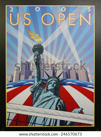 NEW YORK - AUGUST 18, 2014: US Open 2005 poster on display at the Billie Jean King National Tennis Center in New York