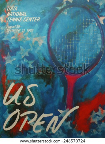 NEW YORK - AUGUST 19, 2014: US Open 1988 poster on display at the Billie Jean King National Tennis Center in New York  - stock photo