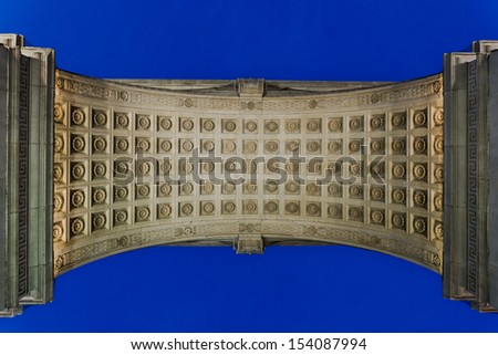 NEW YORK - AUGUST 25: Washington Square Arch on August 25, 2013 in New York. The arch was built in 1892 to commemorate President George Washington's centennial inauguration. - stock photo