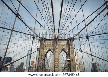 new york brooklyn bridge - stock photo