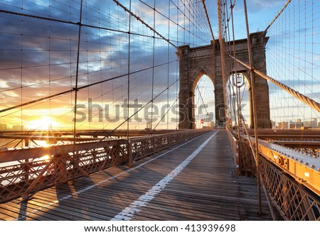 New York, Brooklyn bridge, Lower Manhattan, USA - stock photo