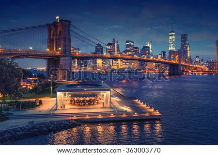 New York Brooklyn Bridge Vintage style - stock photo