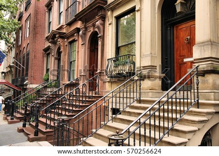 New York brownstone townhouses in Turtle Bay neighborhood in Midtown Manhattan.