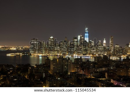 New York by night - view from Brooklyn Heights on Manhattan - stock photo