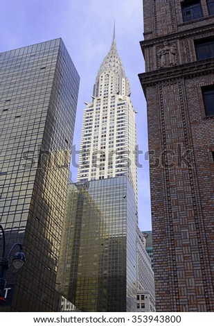 NEW YORK - CIRCA APRIL 2015. The art deco, architecturally significant Chrysler Building in Midtown Manhattan was the tallest building in Manhattan prior to the completion of the Empire State building - stock photo