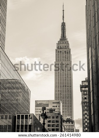 New York circa dec 2014: Famous Empire state Building, morning street view in Manhattan - stock photo