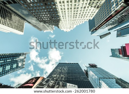 New York, circa dec 2014:Typical street view of building, from street to sky in Manhattan, - stock photo