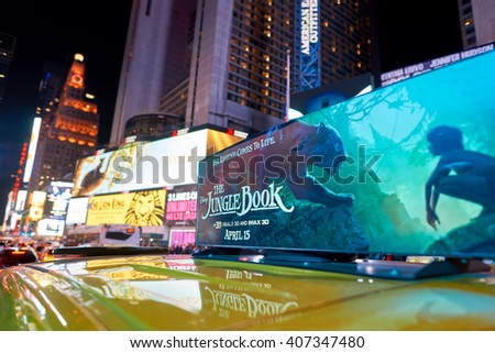 NEW YORK - CIRCA MARCH 2016: close up shot of AD on New York taxi at night. The City of New York, often called New York City or simply New York, is the most populous city in the United States - stock photo