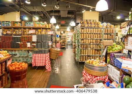 NEW YORK - CIRCA MARCH 2016: inside of Gourmet Garage. Gourmet Garage is a privately held mini-chain of specialty/natural food markets headquartered in New York City with six locations in Manhattan