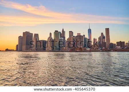NEW YORK - CIRCA MARCH 2016: view of New-York City from Brooklyn. The City of New York, often called New York City or simply New York, is the most populous city in the United States