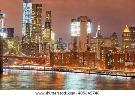 NEW YORK - CIRCA MARCH 2016: view of New-York City from Brooklyn. The City of New York, often called New York City or simply New York, is the most populous city in the United States - stock photo