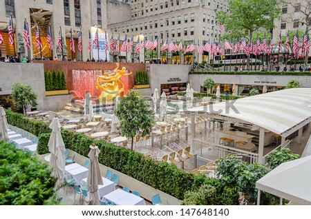 NEW YORK - CIRCA MAY 2013: The Statue of Prometheus at the Rockefeller Center, New York, circa May 2013. It was created by sculptor P. Manship and has since become a global icon of wealth and luxury - stock photo