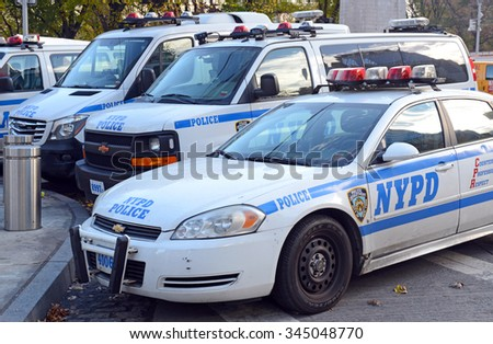 NEW YORK - CIRCA NOVEMBER 2015. NYPD patrol cars on street, evidencing an increase in police presence many residents call for as a result of the recent increase in violent crimes in New York City. - stock photo