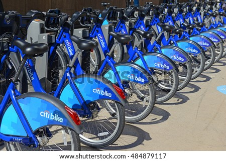 NEW YORK - CIRCA SEPTEMBER 2016. CitiBike, shown at Grand Central Terminal is a Bicycle share program in Manhattan helps reduce congestion and vehicular traffic on the streets of Manhattan. New York.