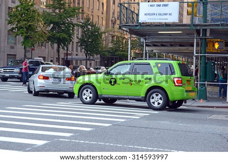 NEW YORK - CIRCA SEPTEMBER 2015. The Five Borough Taxi Plan was enacted to safely enable access to taxi cabs for passengers above E96th and West 110th Streets in Manhattan and outer Boroughs as well.