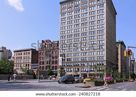 NEW YORK - CIRCA 2013: Union Square at Park Avenue is one of Manhattan's most important intersections and a popular shopping area, seen circa 2013. - stock photo