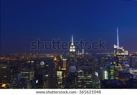 New York City aerial view of Manhattan - stock photo
