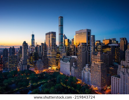 New York city - amazing sunrise over central park and upper east side manhattan - Birds Eye / aerial view - stock photo
