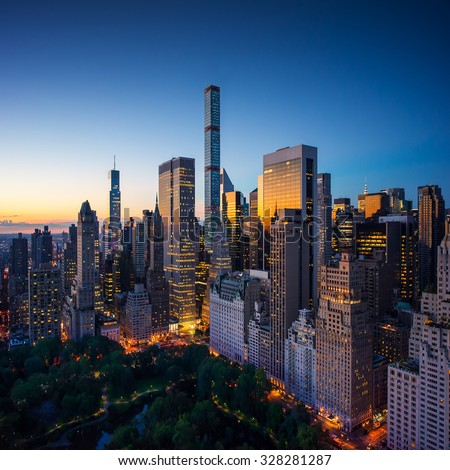 New York city - amazing sunrise over central park and upper east side Manhattan - Birds Eye / aerial.