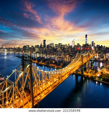 New York City - amazing sunset over manhattan with Queensboro bridge - stock photo