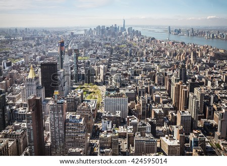New York City and New Jersey skyline. Manhattan viewed from Empire State Building - stock photo