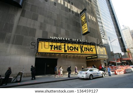 NEW YORK CITY - APRIL 19: An exterior view of the Minskoff Theater featuring the Broadway play, The Lion King, in New York City, on Friday, April 19, 2013.