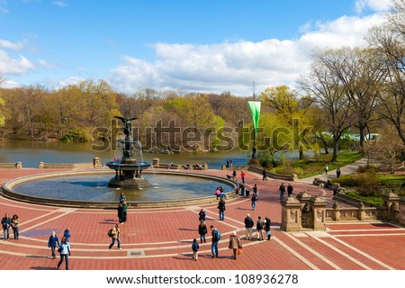 NEW YORK CITY-APRIL 2: Central Park's historic Bethesda Fountain in New York City on April 2, 2012. It was designed by Emma Stebbins in 1868, the first woman to win a public art commission in NYC. - stock photo
