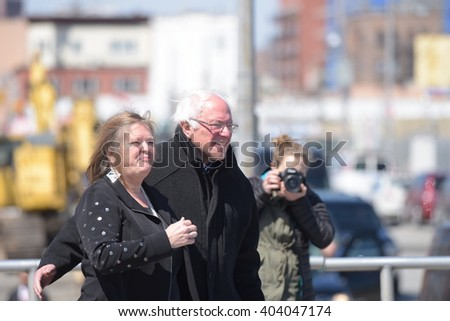NEW YORK CITY - APRIL 10 2016: Democratic presidential candidate Bernie Sanders addressed supporters on the Coney Island boardwalk. Candidate arrives with spouse, Jane O'Meara Sanders - stock photo