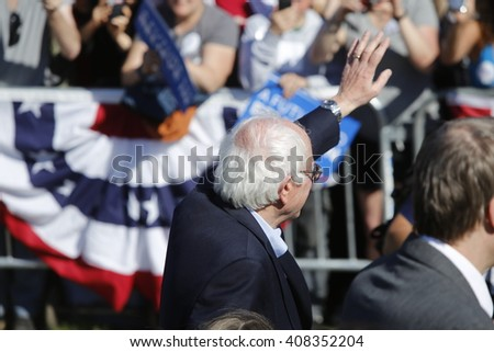 NEW YORK CITY - APRIL 17 2016: Democratic presidential candidate Bernie Sanders held a rally in Prospect Park, Brooklyn. - stock photo