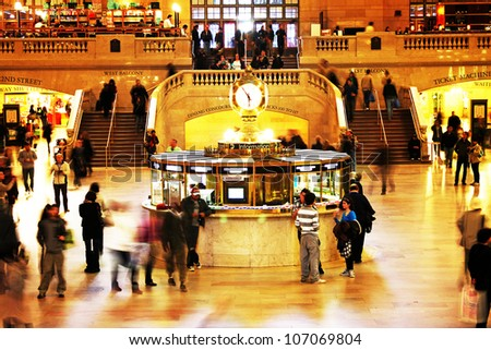 NEW YORK CITY - APRIL 18: Famous New York City landmark Grand Central Station (has more than 44 tracks and 67 platforms) full of tourists and commuters on April 18, 2011 in New York, New York. - stock photo