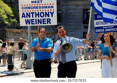New York City - April 26, 2009:  Former Congressman Anthony Weiner marching on Fifth Avenue during the annual Greek Independence Day Parade