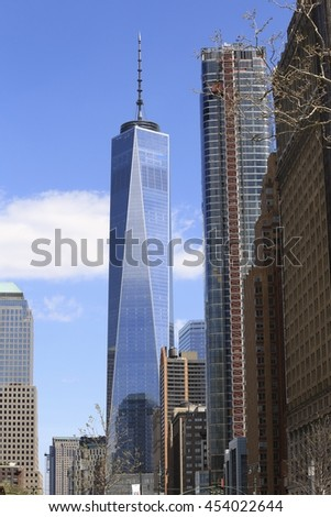 NEW YORK CITY - APRIL 3 2016 :Freedom tower skyscrapers at World trade centre in New York City, America - stock photo