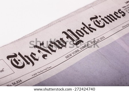NEW YORK CITY - APRIL 13, 2015:  Image of front page from The New York Times Sunday newspaper. - stock photo