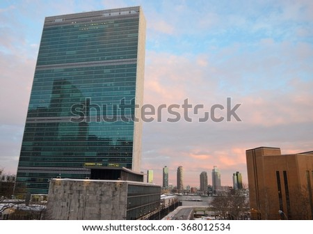 New York City - April 29, 2015: Manhattan skyline and the United Nations headquarters, NYC, USA