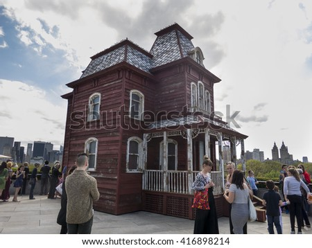 New York City - April 23, 2016: Metropolitan Museum of Art rooftop commission to Cornelia Parker, British artist, Transitional Object (PsychoBarn).