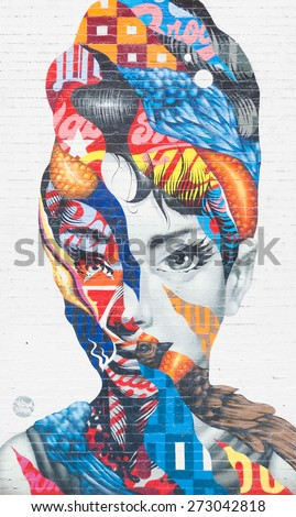 NEW YORK CITY - APRIL 20: Mural art by Tristan Eaton in Little Italy on April 20, 2015 in New York City.  - stock photo