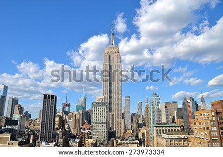 New York City - April 29, 2015: New York City Manhattan midtown view with Empire State Building, New York City, USA. - stock photo