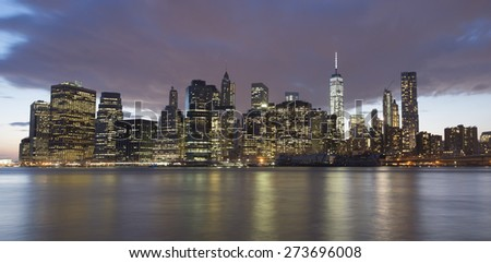 NEW YORK CITY - APRIL 17: New York City Manhattan skyline with the One World Trade Center on April 17, 2015 in New York City.  - stock photo