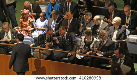 NEW YORK CITY - APRIL 22 2016: Opening ceremonies at the United Nations General Assembly took place prior to member nations signing the Paris Climate Accord. UN Messenger of Peace Leonardo DiCaprio