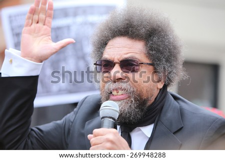 NEW YORK CITY - APRIL 14 2015: several hundred activists from Stop Mass Incarceration Network rallied at Union Square Park before marching to Lower Manhattan. Dr Cornel West - stock photo