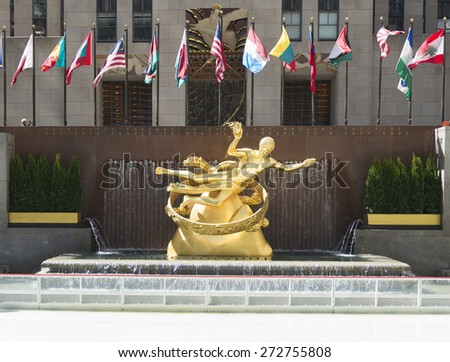 NEW YORK CITY - APRIL 19: Statue of Prometheus at the Lower Plaza of Rockefeller Center on April 19, 2015 in New York City.  - stock photo