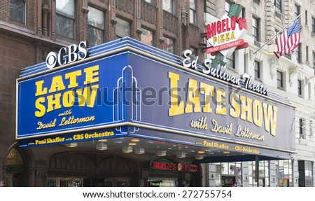 NEW YORK CITY - APRIL 19: The Late Show with David Letterman sign at the Ed Sullivan Theater on April 19, 2015 in New York City.  - stock photo
