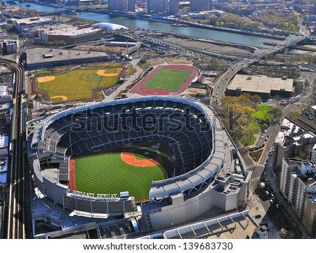 NEW YORK CITY - APRIL 6: The New Yankees Stadium on April 6th, 2012. It was achieved in 2009 and costed $ 1.5 bn. Home of the Yankees it is situated in the Bronx and can host 50000 for Baseball Games. - stock photo
