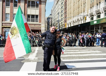 NEW YORK CITY - APRIL 19 2015: the 12th annual Persian parade marched from 36th to 28th Streets on Madison Avenue, celebrating pride in Persian heritage from the Pahlavi to the Sassanid dynasties