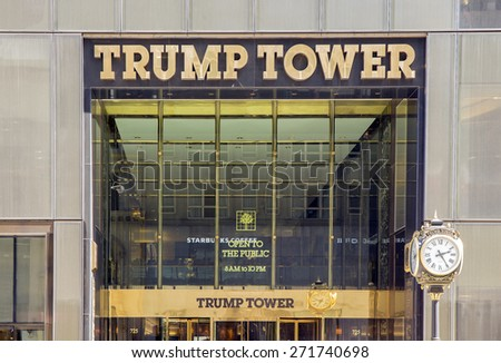 NEW YORK CITY - APRIL 19: Trump Tower is a 68-story mixed-use skyscraper located at 725 Fifth Avenue, at the corner of East 56th Street in Midtown Manhattan, New York City, as seen on April 19, 2015 - stock photo