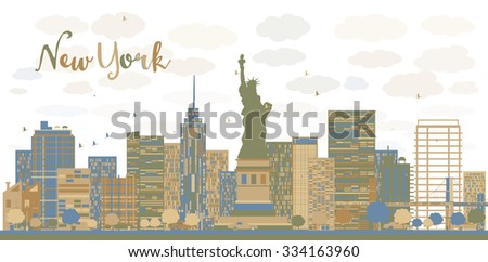 New York city architecture skyline with blue and brown buildings. Business travel and tourism concept with modern buildings. Image for presentation, banner, placard and web site. - stock photo